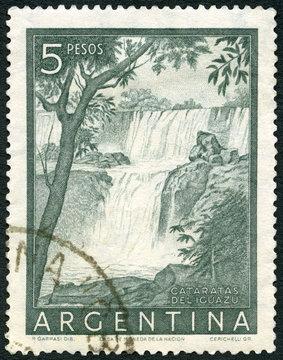 ARGENTINA - 1954: shows Iguacu Falls, Cataratas Deliguazu