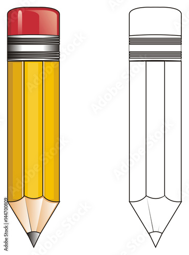 pencil office object wood school writing yellow red simple