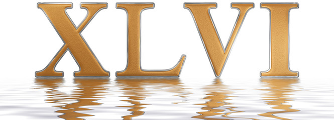 Roman numeral XLVI, sex et quadraginta, 46, forty six, reflected on the water surface, isolated on  white, 3d render