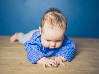 Baby learing to crawl