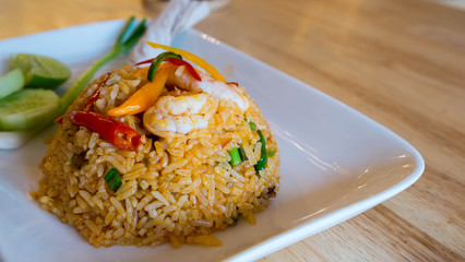 Tom Yum Fried Rice with Shrimp, Seafood fried rice