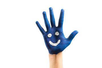Close up of painted blue child hand with funny smiley, on isolated white background.