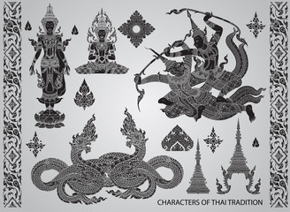 set action characters,thai tradition style vector