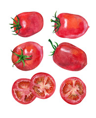 Tomatoes and sliced tomatoes.  Watercolor.