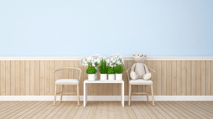 Teddy bear and flower in blue room - 3d rendering