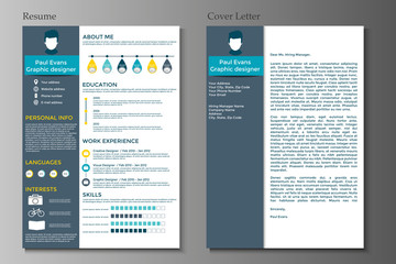 Resume and Cover letter collection.  Modern CV set with Infographics elements.