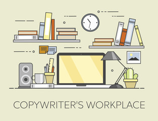 Modern workplace in office. Cozy home office interior. Copywriter s workplace