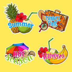 Set of stickers, patches with summer time vacation, beach holiday attributes, sketch style vector illustration isolated on white background. Summer stickers, patches with hand drawn summer objects
