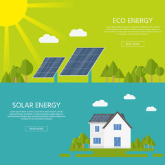 Clean modern house with solar panels. Eco friendly alternative energy