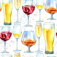 Seamless pattern of a champagne,cognac, wine, beer and glass. Painting of a alcohol drink and splash .Watercolor hand drawn illustration.White background.