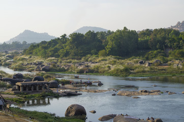 beautiful landscape of the ancient city of Hampi in India