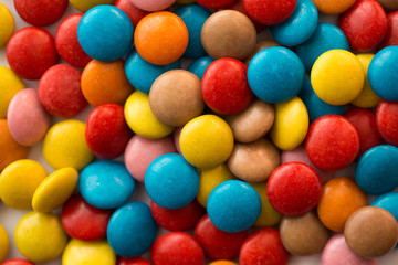 Close up of a pile of colorful chocolate coated candy, chocolate pattern, chocolate background