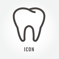 icon Tooth illustration isolated sign symbol thin line for web, modern minimalistic flat design vector on white background and logo. Symbol