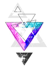Geometry with watercolor triangle