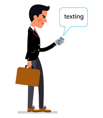 Manager man wearing office style clothes texting by mobile phone. Vector illustration.