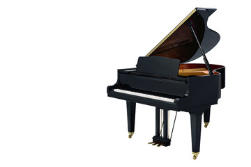 classic musical instrument black piano isolated on white background