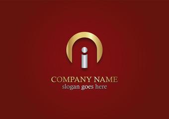 round gold letter i vector logo