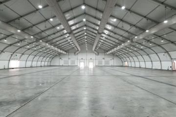 White big clean empty industrial hall as warehouse or office space