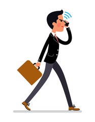 Cartoon style Business man talking by mobile phone and walking to work. Vector illustration.