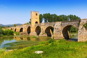 old stone bridge over Ebro. Frias