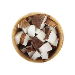 Poster de jardin Chocolat slices of coconut in wooden cup isolated