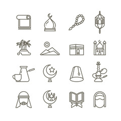 Islamic religion vector thin line icons