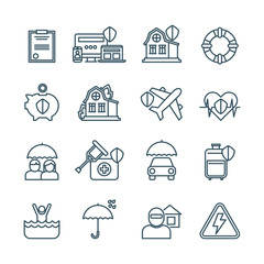 Life, house and car insurance thin line vector icons