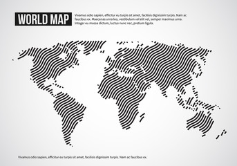 Fototapete - World map of wavy lines. Abstract globe continents topography vector infographic background