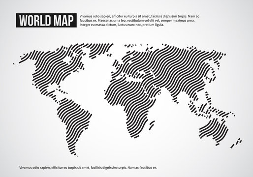 World map of wavy lines. Abstract globe continents topography vector infographic background