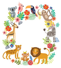 Animals of the jungle. Vector frame