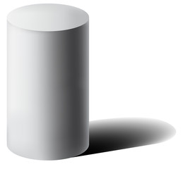 Vector white 3D cylinder with shadow.