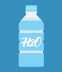 Bottle of water flat design. Vector illustration.