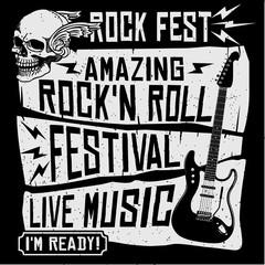 Rock music concert festival guitar grunge symbol t-shirt print or poster vector illustration