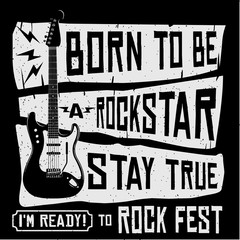 Rock music concert festival guitar grunge symbol t-shirt or poster or banner vector illustration