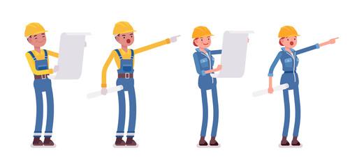 Set of male and female worker planning