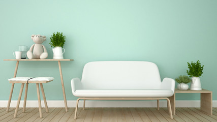 living room or kid room in apartment - 3D Rendering