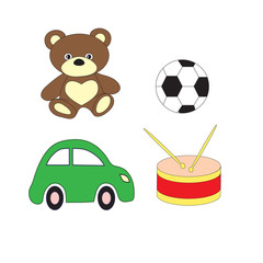 A set of toys of the car of a drum, bear and soccerball for the boy. A vector picture.