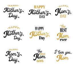 Mothers Day Lettering Calligraphic Emblems and Badges Set Isolated on White. Happy Mothers Day, Thr Best Mom, I Love You Mom Inscription. Font Vector Elements Design For Greeting Card, poster or flyer