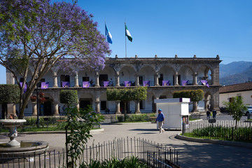Central Park of Antigua in Guatemala / Downtown in Central American City of Anitgua