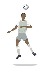 Isolated soccer player. Silhouette of a man in uniform with ball. African american.