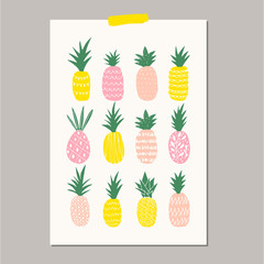 Poster with cute pineapples