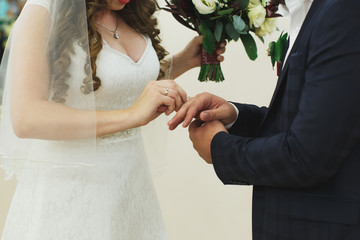 Newlyweds exchange rings, groom puts the ring on the bride's hand in marriage registry office
