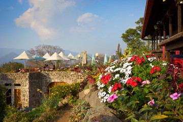 """Organic farm at view point in Antigua Guatemala / Farm and Restaurant """"San Cristobal el alto"""" in the highlands of Guatemala / Nice place to eat in Antigua"""