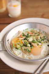 Local Thai morning food egg pan