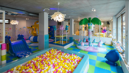 Modern kid zone interior. Play room for kids.