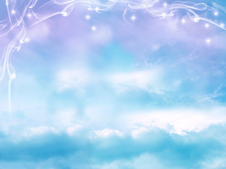 Wall Mural - mystical magic divine aquamarine pink sky like a mystic background for religion topic