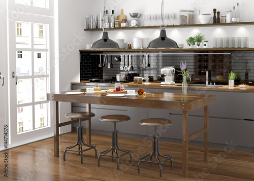 Kuche Kuchenzeile Offene Kuche Moderne Einbaukuche Stockfotos