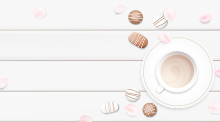 Pastel white morning background vector illustration with coffee cup and chocolate