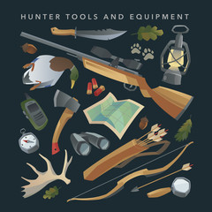 Hunter equipment set. Vector.