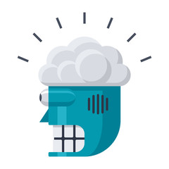 Robot head with brain, artificial intelligence, vector illustration in flat style